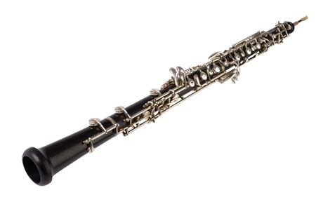 Oboe isolated on white,  Studio Shot Stock Photo