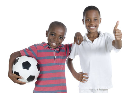 fairplay: Two african boys with foot ball, Studio Shot, isolated Stock Photo