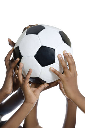Happy african kids holding football , Studio Shot, Isolated Stock Photo