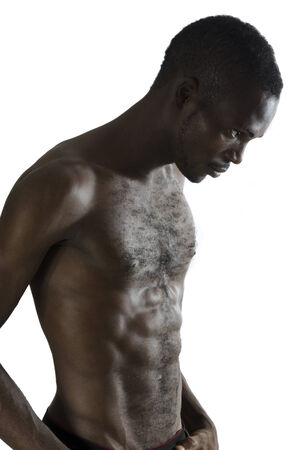 ebony: Portrait of musculous african man, Studio Shot, Cameroon