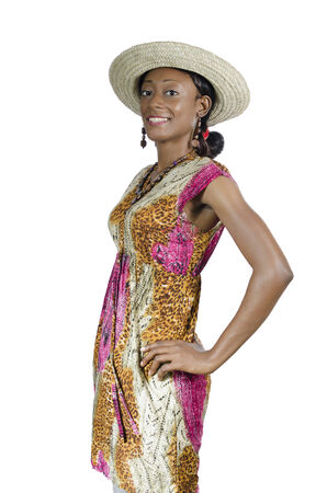 Beautiful African Woman With Straw Hat Smiling, Studio Shot, Cameroon photo