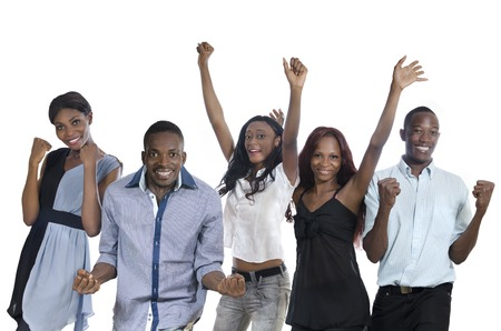party friends: Five happy african people cheering, Studio Shot, Isolated Stock Photo