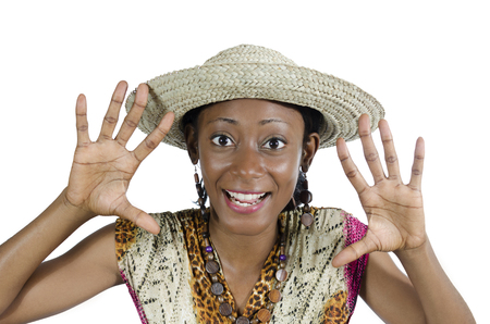Beautiful African Woman Showing Hands and Smiling, Studio Shot, Cameroon photo