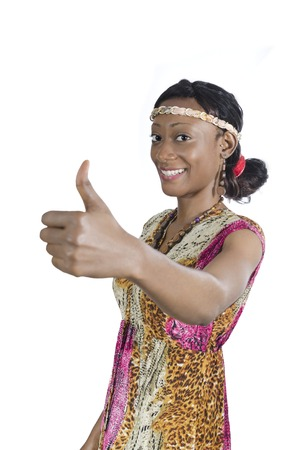 Beautiful African Woman smiling thumb up, Studio Shot Cameroon photo