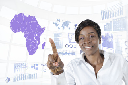 African business woman working in virtual environment, Studio Shot photo