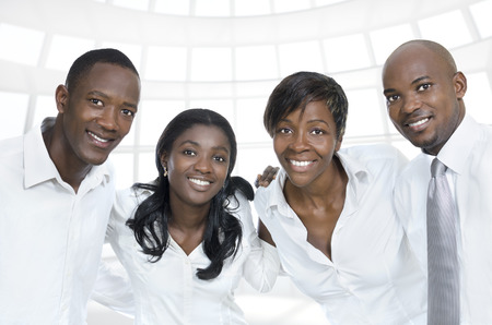 African business team   students smiling, Studio Shot photo