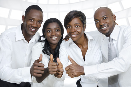 African business team    students thumbs up, Studio Shot