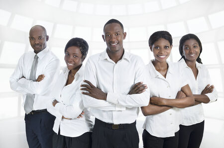 africa american: African business team   students smiling, Studio Shot