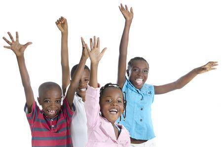 jubilating: Four happy african cheering, Studio Shot