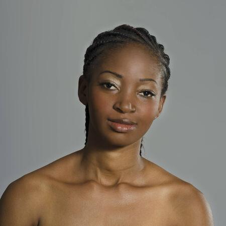 cornrows: Beautiful African Woman Portrait, Studio Shot, Cameroon