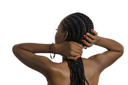 Beautiful African Woman Rear View, Studio Shot, Cameroon photo