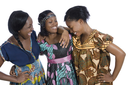 african women: Three african women in traditional clothing, Studio Shot