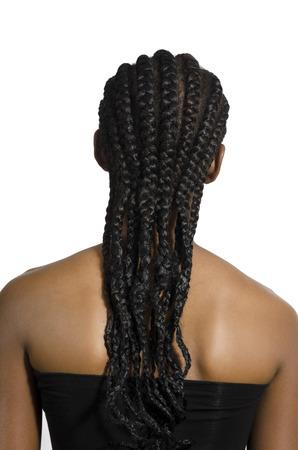 trenzado: Hermosa mujer africana Vista posterior, Foto de estudio, Camer�n
