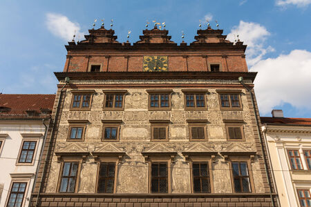 townhall: Front of Historic Townhall of Plzen , Czech republic, August 2014