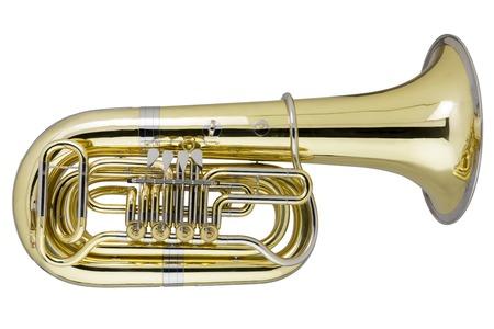 Tuba on white background, studio shot