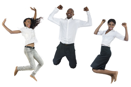 happy people jumping: Three african people jumping high, studio shot