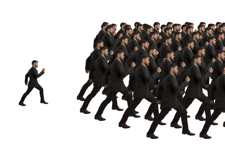 strictly: Marching and Individual clones, studio shot Stock Photo