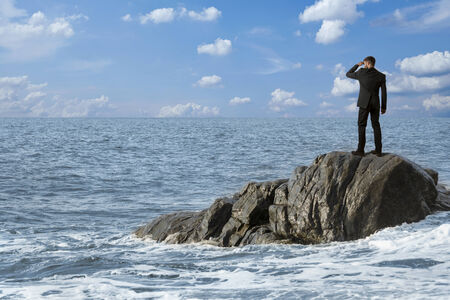 Observing one on rocks in the sea, montage