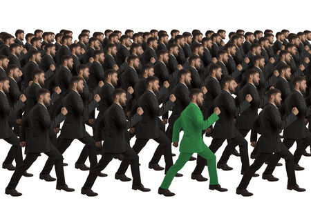all in one: Marching clones with green individual, studio shot