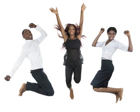 air jump: Three african people jumping high, studio shot
