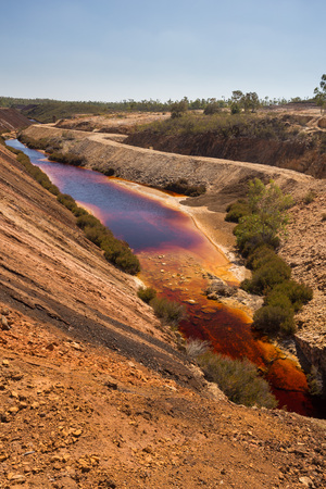 Poisoned lake of the abandoned open pit mine of Sao Domingos