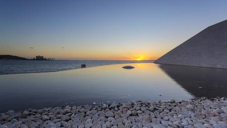 Beautiful sunset view at Champalimaud foundation, Lisbon, Portugal 版權商用圖片