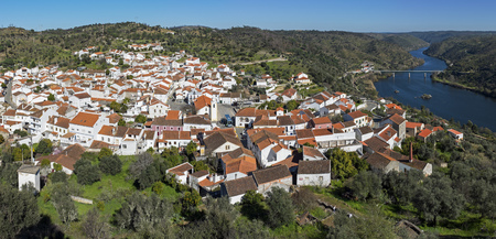 Landscape of Belver village and tagus river from above