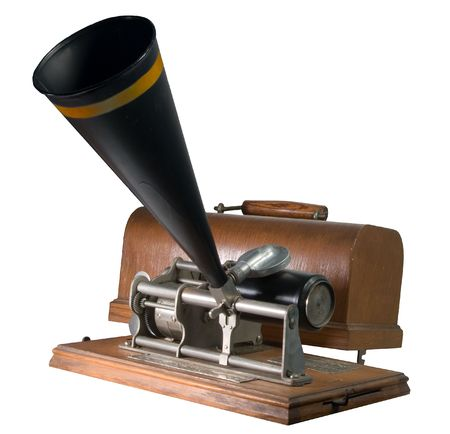 phonograph: Nineteenth century cylinder phonograph or graphophone. This is a budget key wound model. More expensive models had larger springs and were wound by a crank. Models such as this one often sold for around $10.00. Because the $10.00 gold piece was often refe Stock Photo