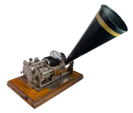 Nineteenth century cylinder phonograph or graphophone. This is a budget key wound model. Such models often sold for around $10.00. Because the $10.00 gold piece was commonly called an eagle, models such as this were often given the nickname of Eagle a