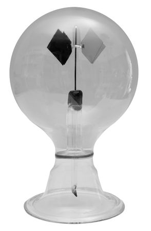detecting: The radiometer, invented in the 1870s by Sir William Crookes, is a device capable of detecting and measuring radiant energy, typically visible light or infra-red radiation. It consists of a glass container containing a partial vacuum and four small vanes Stock Photo