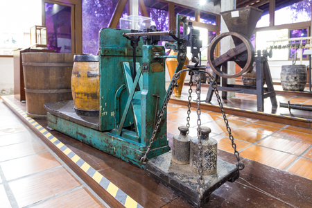 redbrick: Old brewery equipments at Beer museum. Blumenau, Santa Catarina - Brazil