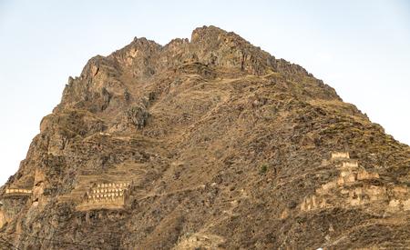 inca ruins: Peru, Ollantaytambo, Pinkulluna Inca ruins in the sacred valley in the Peruvian Andes. Stock Photo