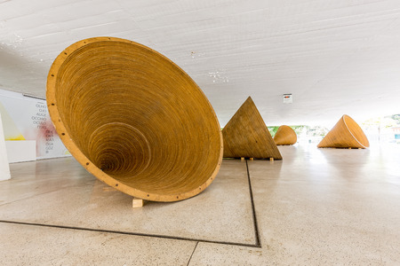 oscar niemeyer: CURITIBA, PARANABRAZIL - DECEMBER 28 2016: Exhibition at Oscar Niemeyer Museum
