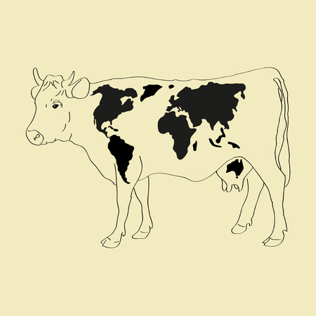 Cow with black patters as a world map Vector