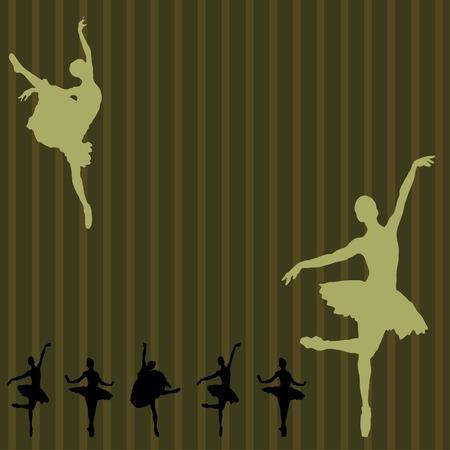 ballerina silhouette: Dancing ballerina background Illustration