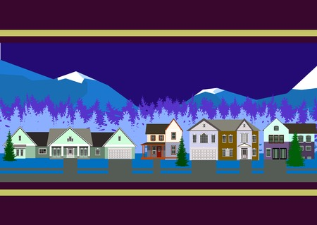 houses of mountains Vector