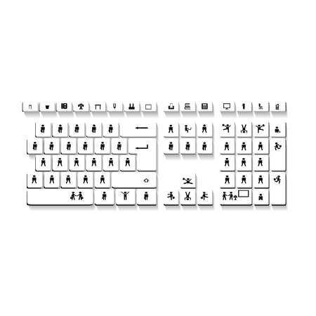 white color: Computer keyboard in white color with people Illustration
