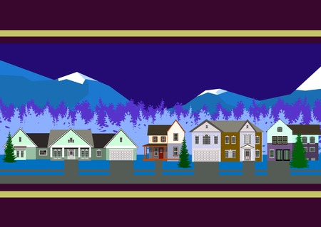 townhouse: Beautiful townhouse on a background of winter mountains Illustration