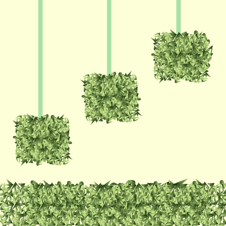 square grass balls on a blue clear background