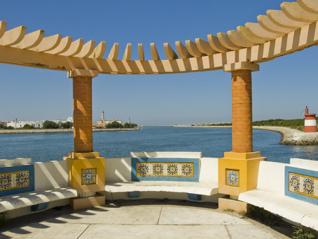 coast line: Detail on a pier benches in Aveiro Portugal