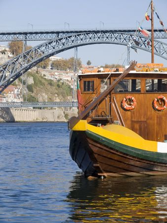 forground: Cityscape with a typical portowine boat in the forground Stock Photo