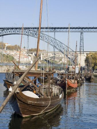 Cityscape with a typical portowine rebelo boat in the forground Stock Photo - 2147973