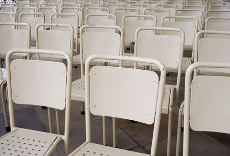 align: Align chair in old chathedral  Stock Photo
