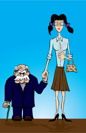 kurz: Strange Valentines Paar  Illustration