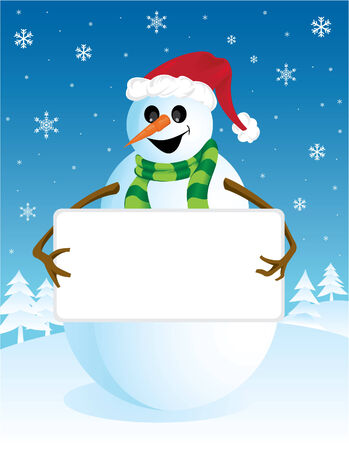 Snowman with a blank board Stock Vector - 2612871