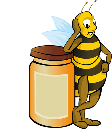 stinger: Honey bee with honey container