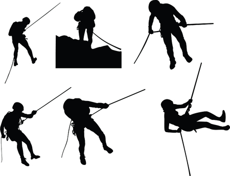 Canyoning silhouettes Illustration
