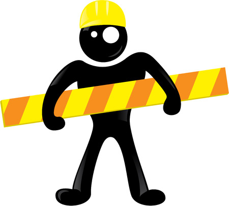 Under construction black man icon Illustration