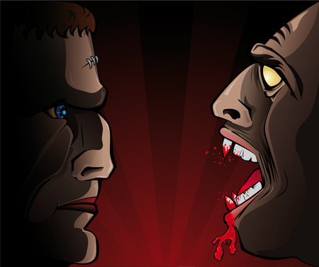 versus: Frankenstein versus Vampire Illustration