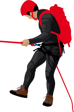 rope vector: Men descending waterfall  Illustration